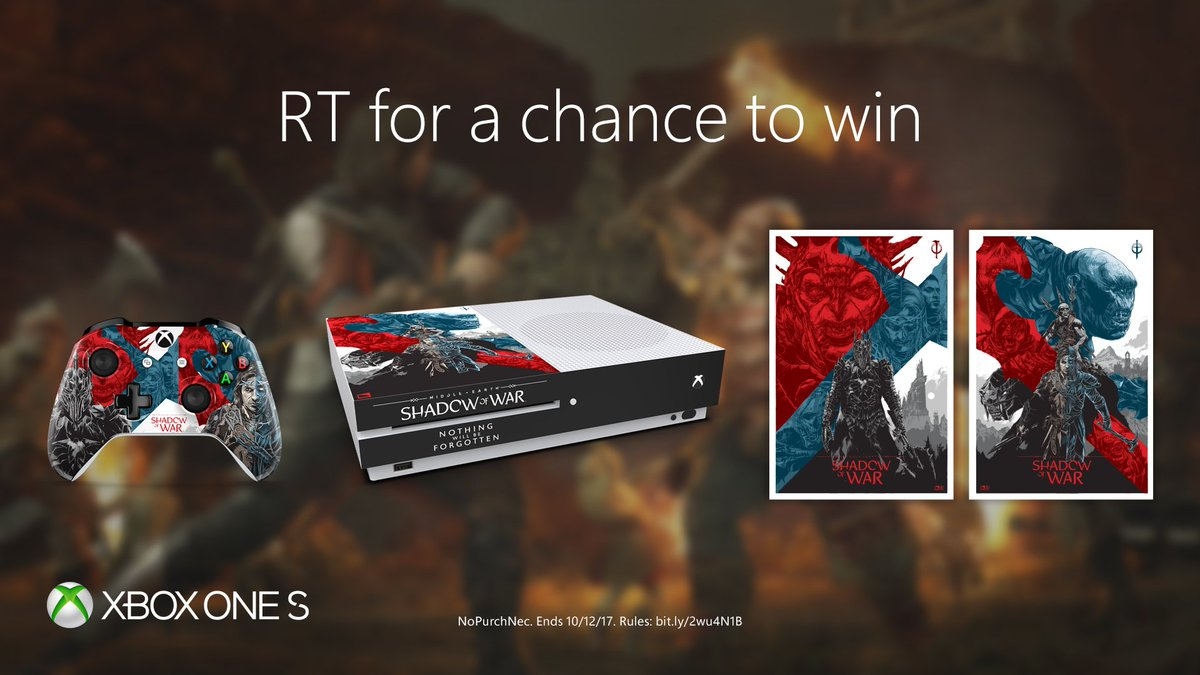 RT for a chance to win exclusive #ShadowOfWar [M] #Xbox prizes. NoPurchNec. Ends 10/12/17. #XboxSweepstakesSweepstahttps://t.co/pFYIEvcVOMkes Rules: