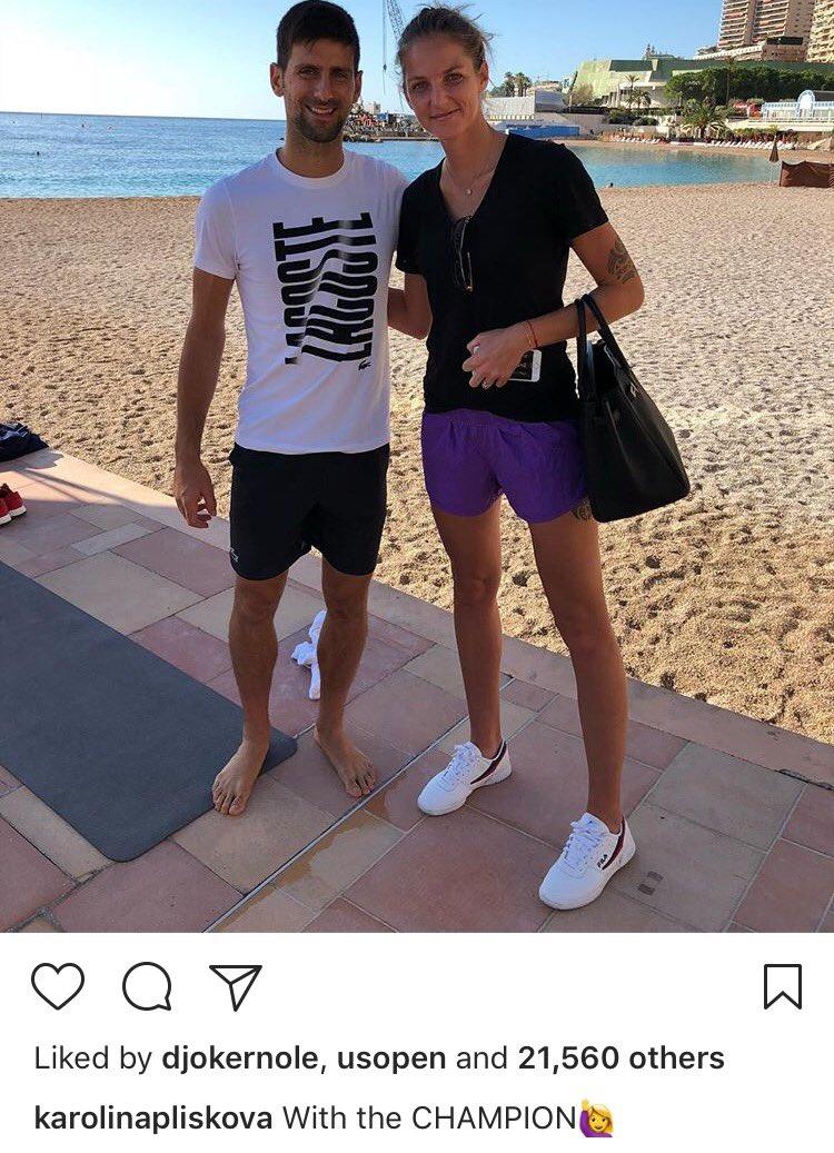 Djokovic: Thank you for pretending to be the same height as me.  Pliskova: Next time I'll bring you heels