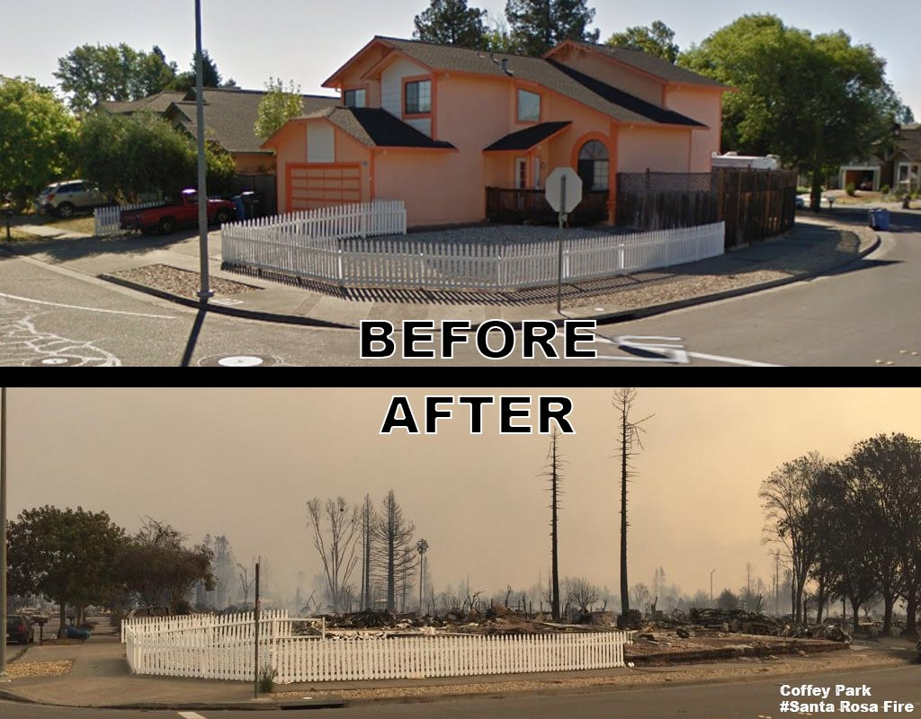 Image result for Coffey park before and after fire in Oct. 2017
