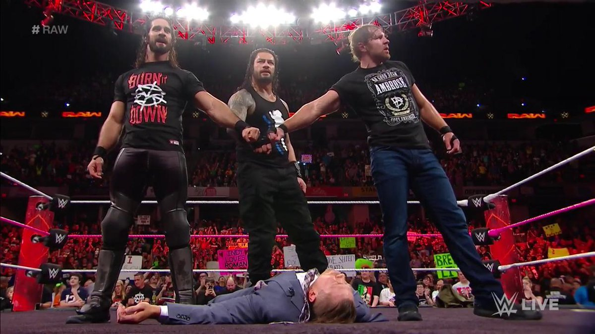 We've been waiting a long time for this...  Sierra Hotel India Echo Lima Delta  #TheShield @WWERomanReigns @WWERollins @TheDeanAmbrose #RAW