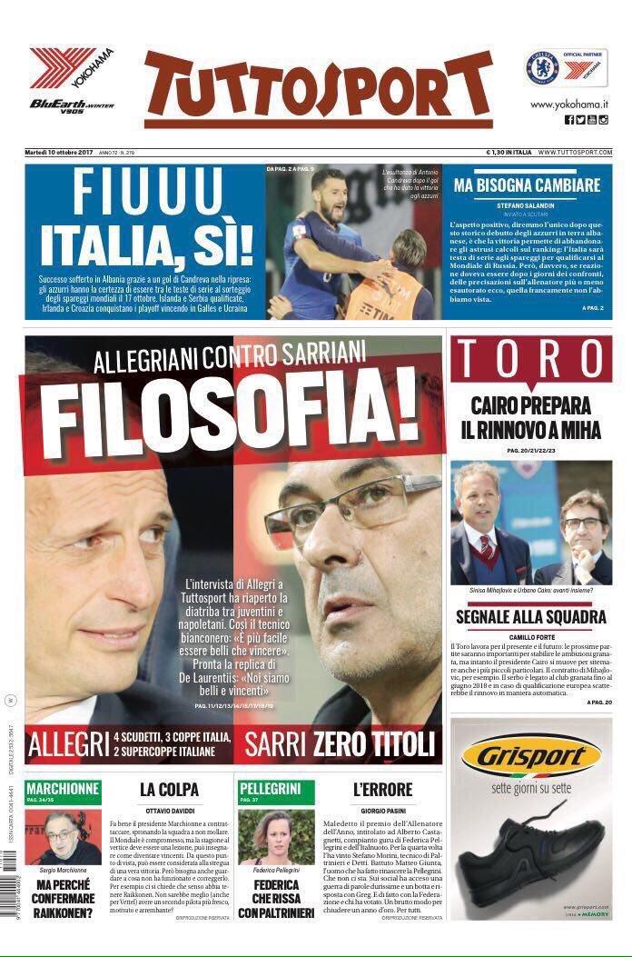 #TS:  [Mr.] #Allegri  #Sarri  [Mr.] Allegri&#39;s won 9: 4x  #SerieA, 3x #TIMCup &amp; 2x #SupercoppaTIM  Sarri&#39;s won 0  #Juve #Napoli<br>http://pic.twitter.com/oNIhf0zKEL