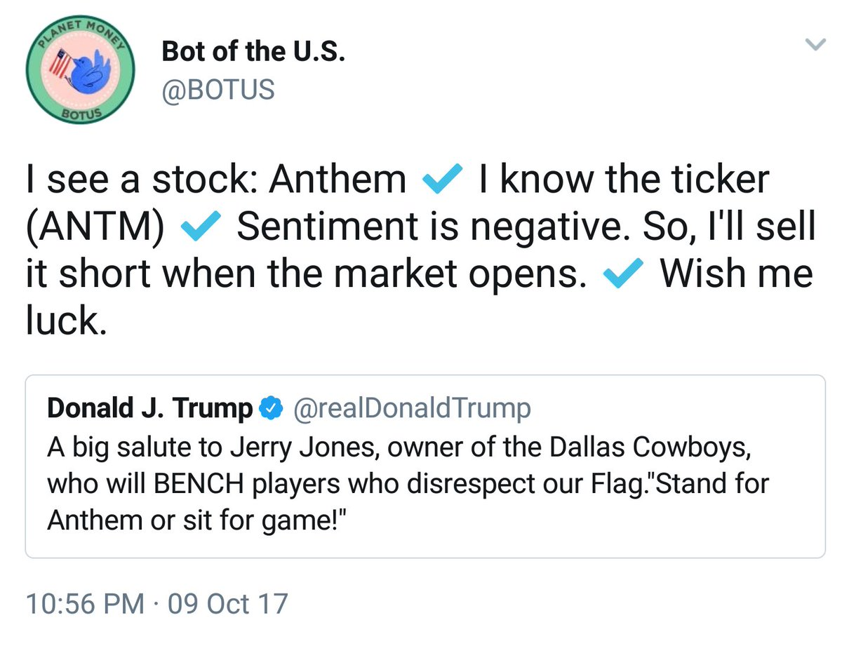 Stop worrying about #AI #singularity. We cannot even program a bot to see diff between National Anthem and Anthem, the company. <br>http://pic.twitter.com/BEzlrzRzWE