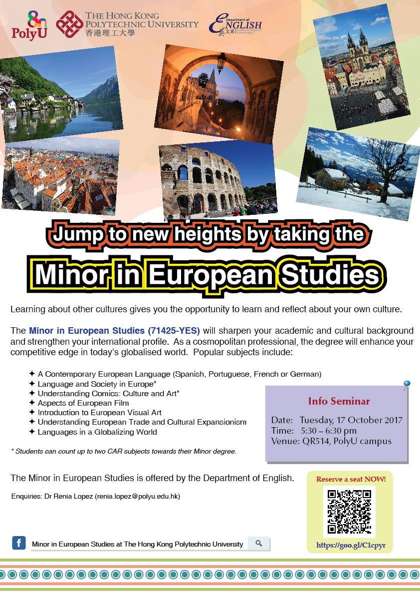 Let's explore the Minor in #EuropeanStudies together, info seminar will be held on 17Oct @HongKongPolyU. Register at  https:// goo.gl/C1cpyr  &nbsp;  <br>http://pic.twitter.com/aCQnASdTMU