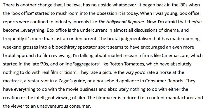 I think we're fostering a filmmaking culture that's less adventurous. Scorsese gets at why: https://t.co/UWivAwVaB7 https://t.co/ml1j4LX5ao