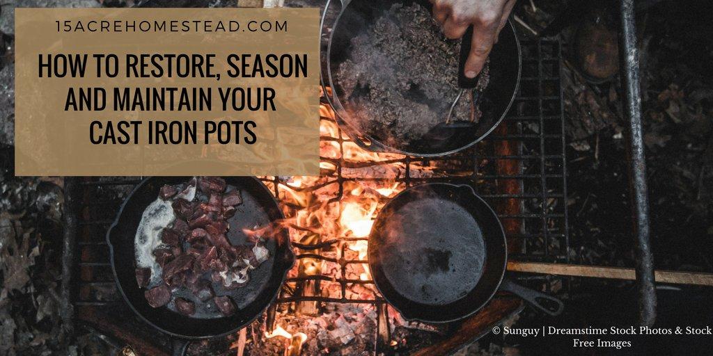 A cast iron pots and pans