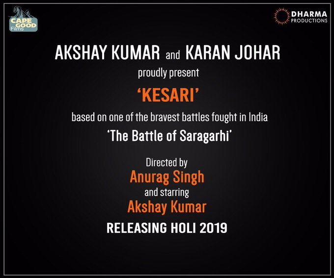 A film I'm extremely excited about       personally and emotionally... #Kesari releasing Holi 2019. https://t.co/sDLrZWIl2R