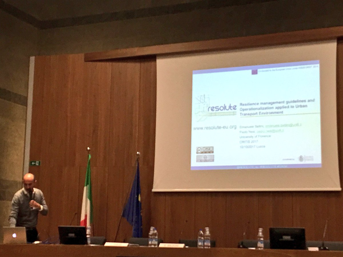 .@emabellini presents the @RESOLUTE_eu project at #CRITIS2017. &quot;We need to be prepared for unknowns.&quot; #resilience<br>http://pic.twitter.com/yMgSFAwnDL