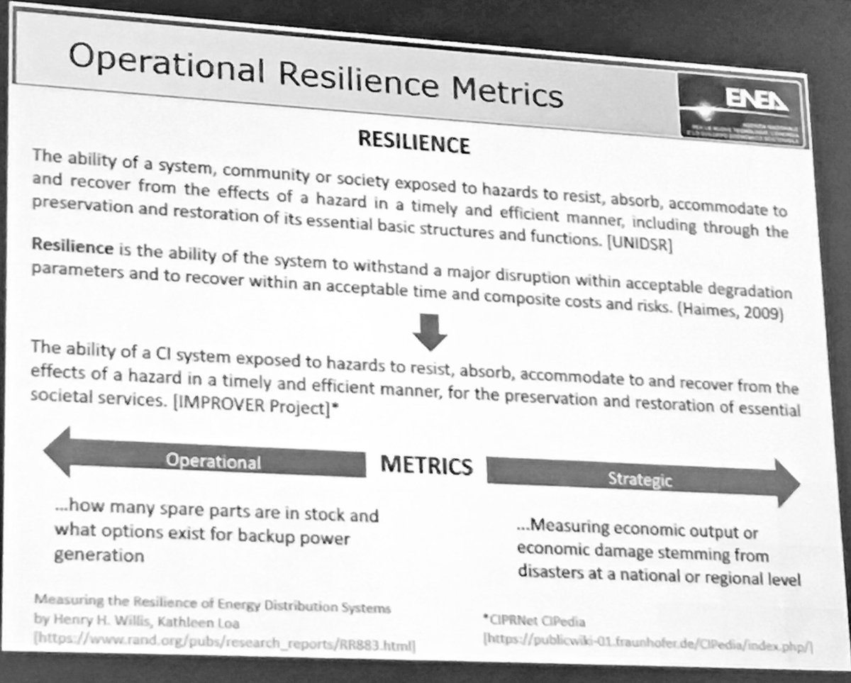RT LastQuake &quot;RT ImproverProject: Alberto Tofani cites #IMPROVER definition of #resilience during his #CRITIS2017 … <br>http://pic.twitter.com/cZpIT8H9oH&quot;
