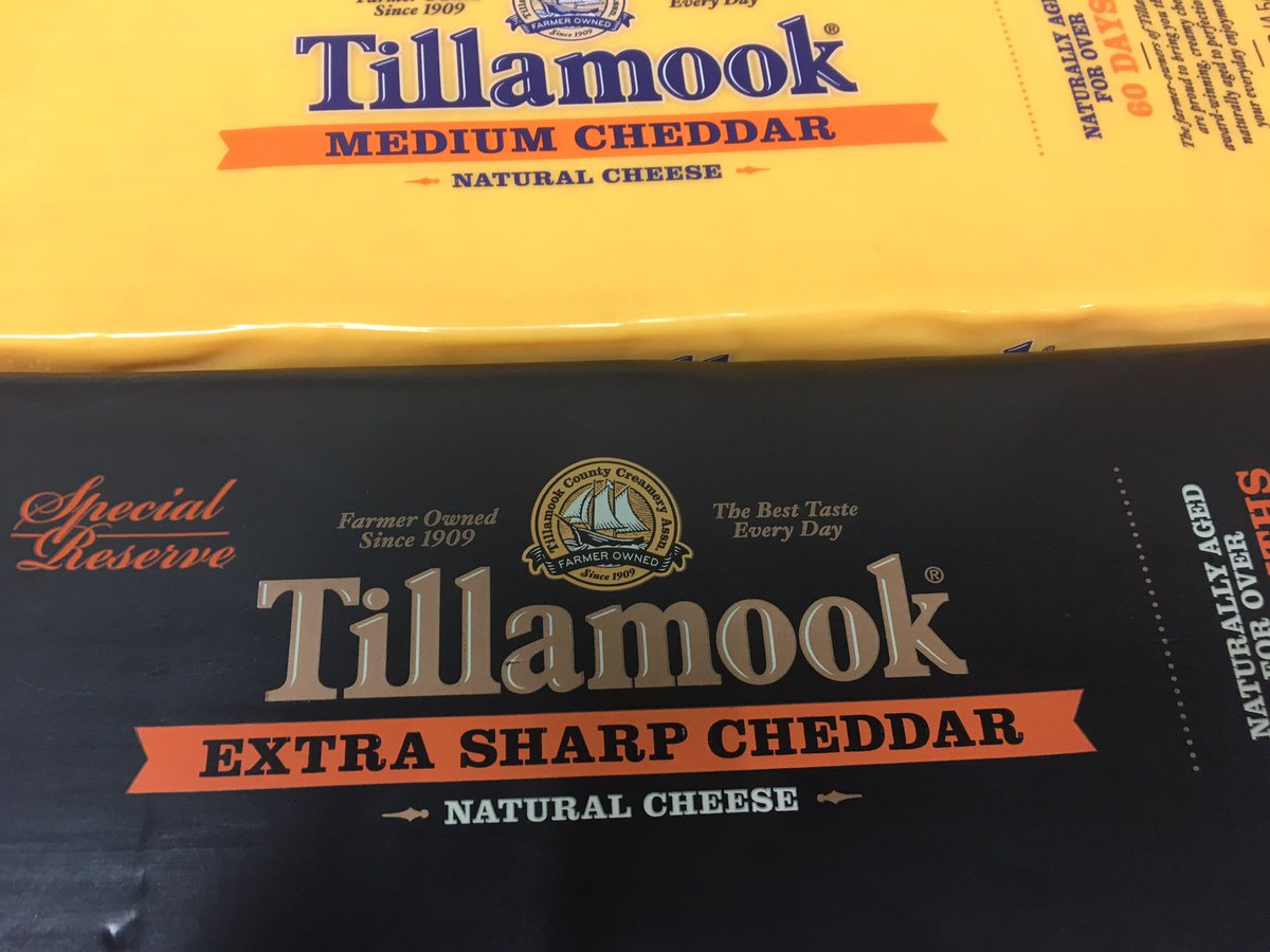 New cheeses available at #BFM, #Tillamook Medium Cheddar and Extra Sharp Cheddar!<br>http://pic.twitter.com/FeyG9HsjKn