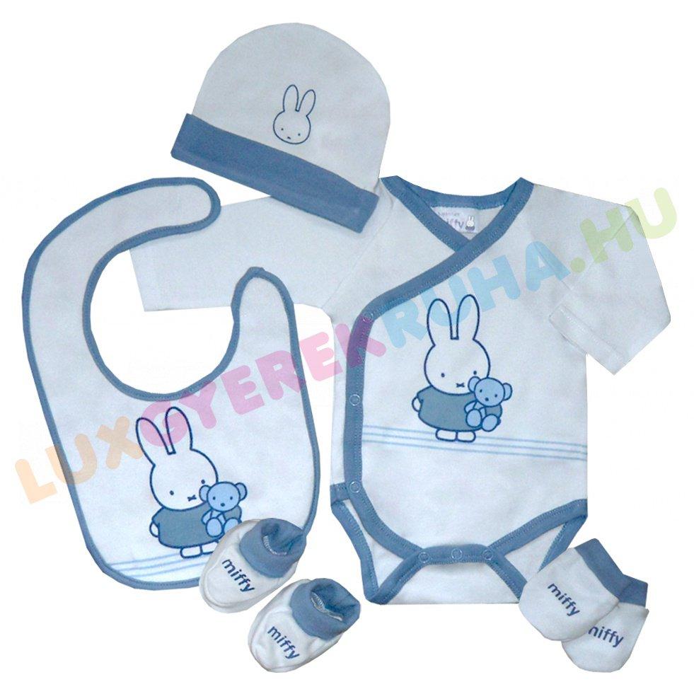 82d90c0950 Miffy mintás 5 db-os ajándékcsomag kék színben újszülöttek számára!  #luxgyerekruha #Miffy