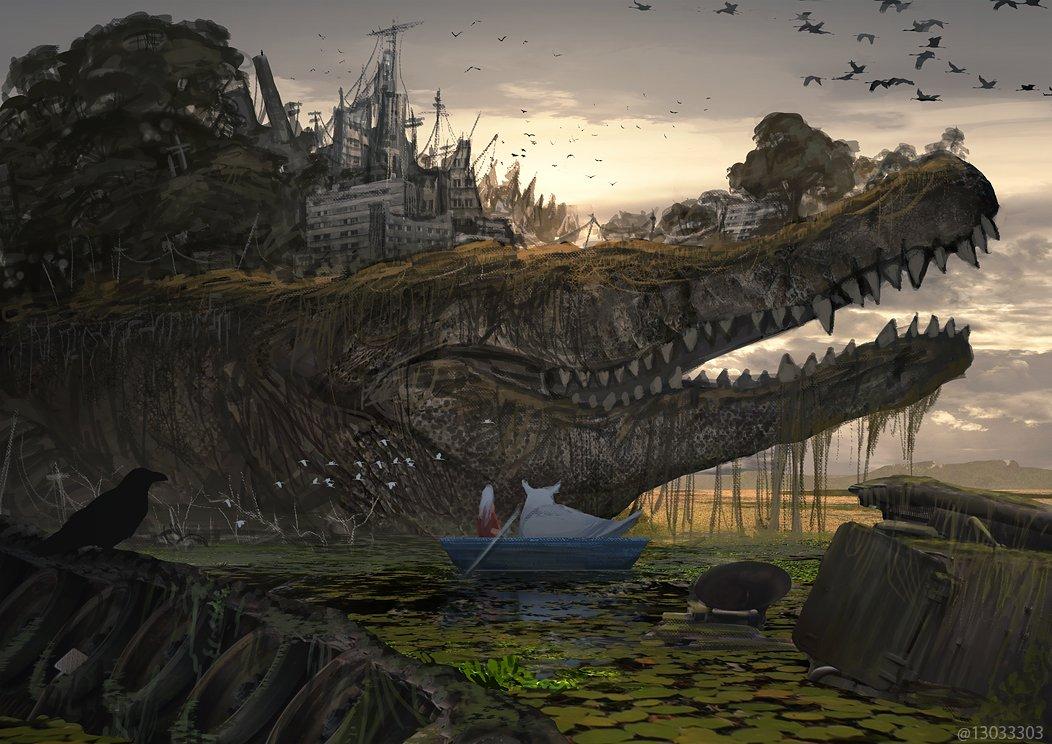 #10月だからフォロワーさんに自己紹介する  一枚絵で進めるクソ長続き物(息抜きの関連画を除いて現在120枚前後)と大きい生き物をたまに描いています