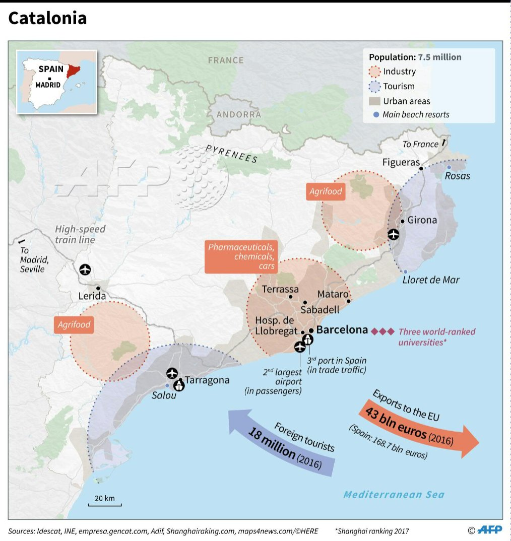 Map Of Spain Showing Salou.Afp News Agency On Twitter Map Showing Catalonia S Infrastructure