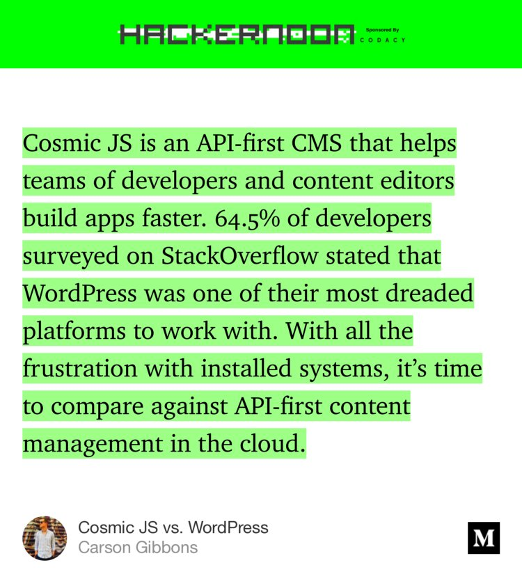 """@cosmic_js vs. WordPress"" via @hackernoon  https:// hackernoon.com/cosmic-js-vs-w ordpress-668608df4e22#---0-342 &nbsp; …  #cloud #headless #cms #api #javascript #wordpress #webdev #code #cosmicjs<br>http://pic.twitter.com/sj553hQTKS"