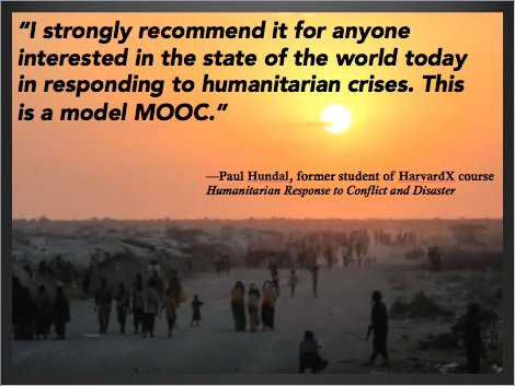 Starts 10/26 - Humanitarian Response to Conflict and Disaster.  Enroll for free at:  https://www. edx.org/course/humanit arian-response-conflict-disaster-harvardx-ph558x-0# &nbsp; … ! #MOOC @HHI<br>http://pic.twitter.com/D6m30L8MCx