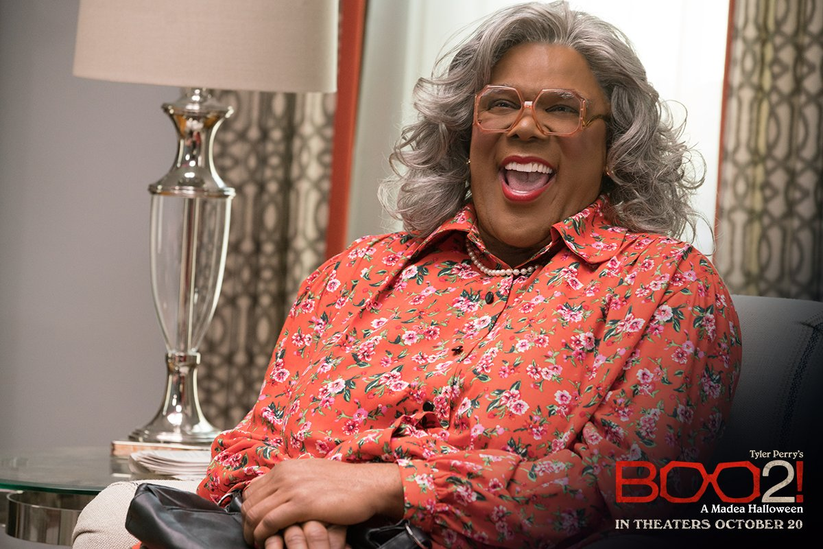 Sit down. Be humble. Watch @TylerPerry's #Boo2! A Madea Halloween in theaters October 20!