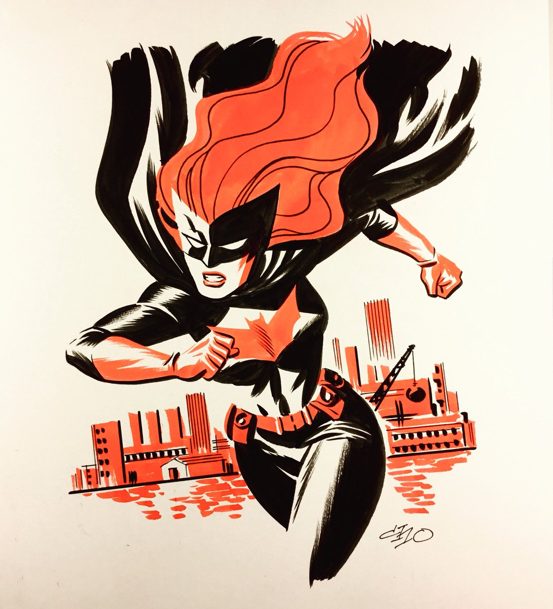 Batwoman, in ink and Dr. Martin dyes.  Last drawing in this series. https://t.co/SZudh7ZIfz