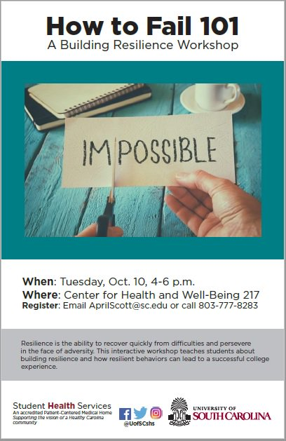 Resilience = persevering in the face of adversity. Learn more with @UofSCshs&#39;s #Resilience Workshop. 10/10 from 4-6 in the CHWB 217. #GLD <br>http://pic.twitter.com/6GSdlmtwXi