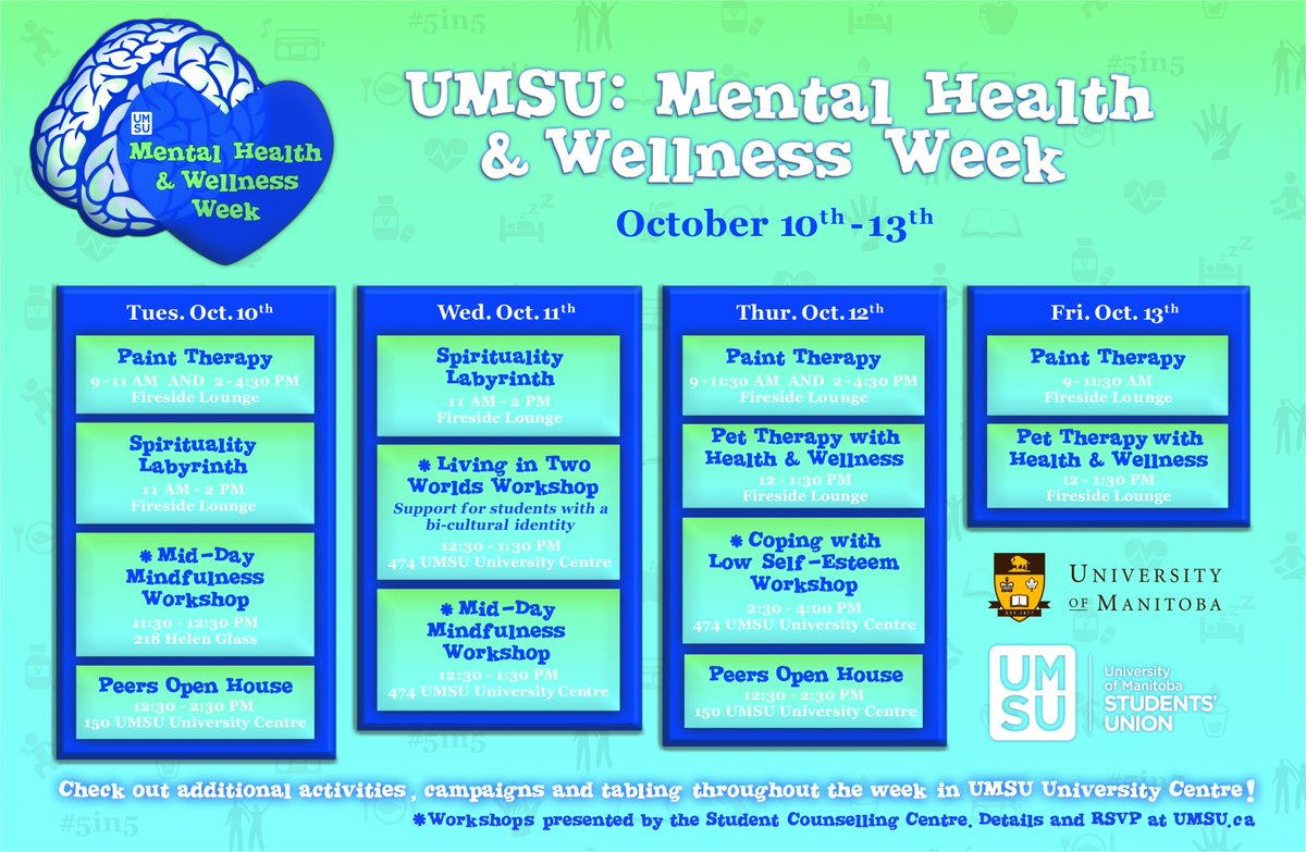 Mental health is a key factor for your personal and academic well-being. Check out these events hosted by @MyUMSU this week! #umintegrity <br>http://pic.twitter.com/pum9ExOrki