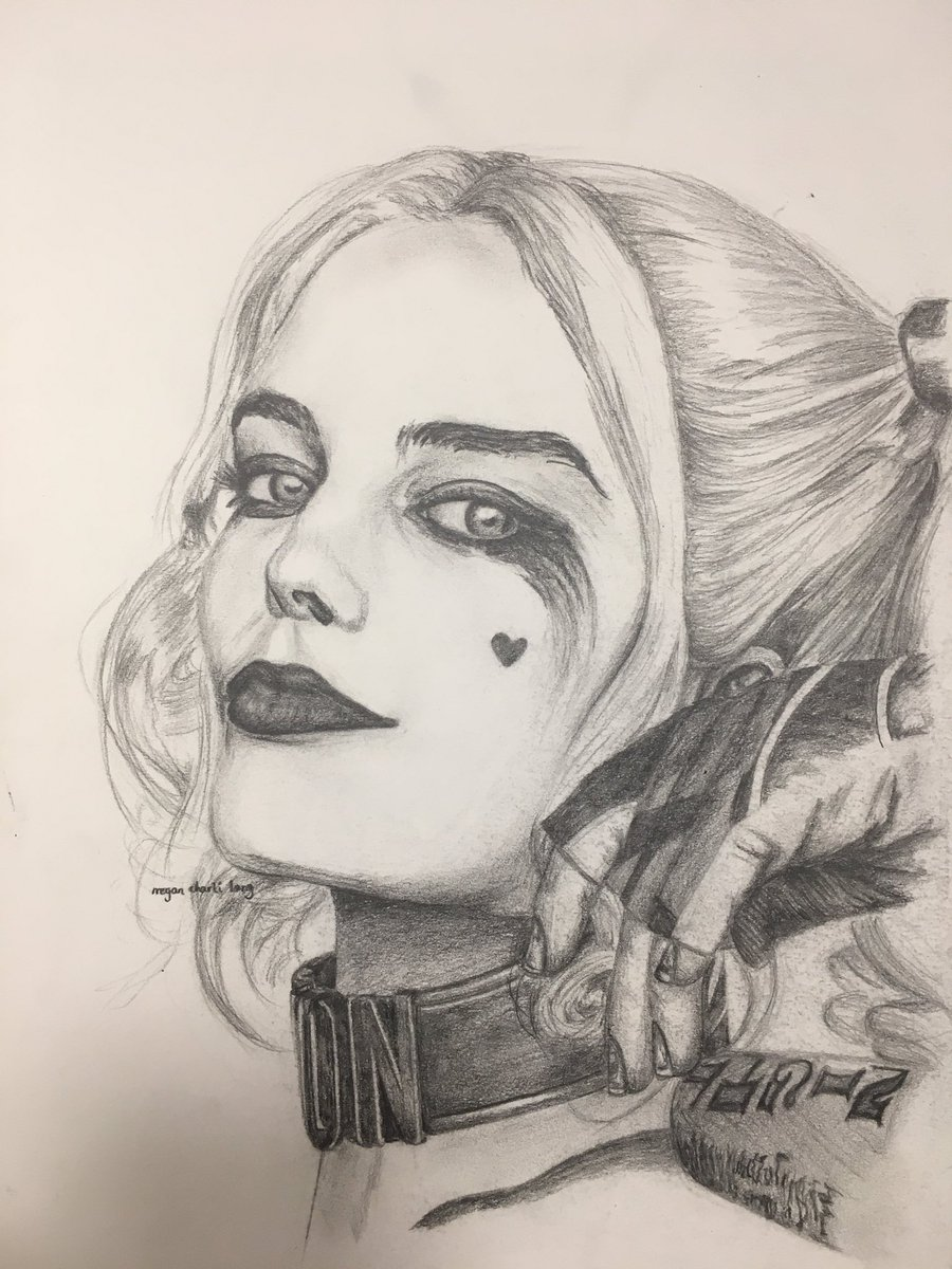 Megan charli art on twitter hand drawn portrait of harley quinn