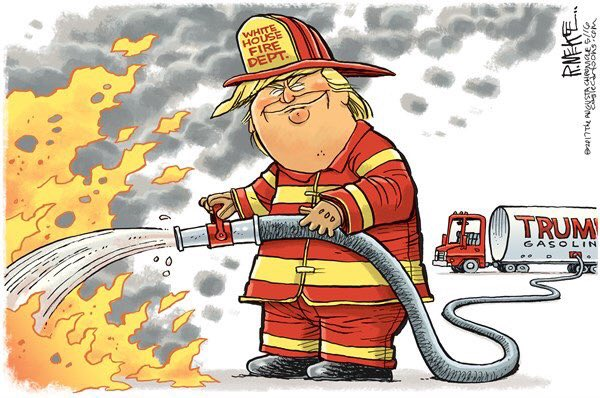 #CaliforniaFires are raging through neighborhoods, thousands displaced, lives lost. Trump is having a pissing contest with #Tillerson. <br>http://pic.twitter.com/iMS3ZE98jj