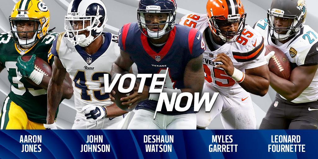 VOTE for the @pepsi Rookie of the Week!  Tweet player's name + #NFLROTW: Fournette. Watson. Garrett. Jones. Johnson. https://t.co/dhSKjgbfKv