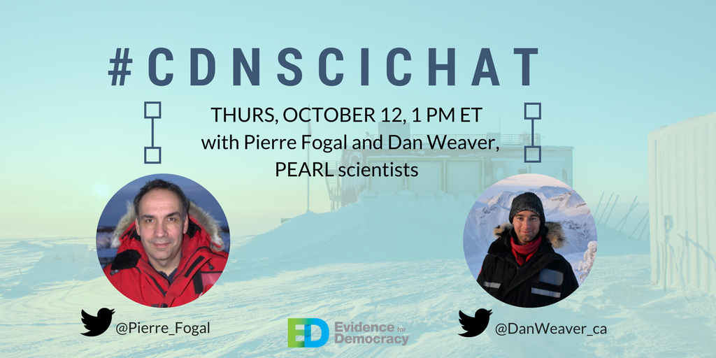 Join #cdnscichat tomorrow at 1 PM ET and hear from our guests @pierre_fogal and @DanWeaver_ca about   #climatescience, #savePEARL &amp; #cdnsci! <br>http://pic.twitter.com/qNcovKkIZx