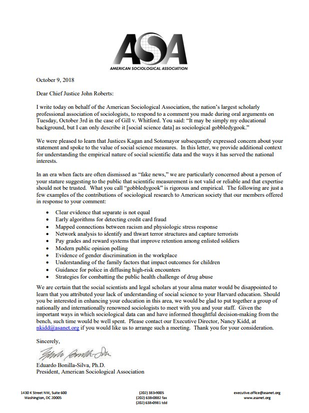 American Sociological Association sends letter to chief justice after his 'gobbledygook' jab last week during redistricting argument: