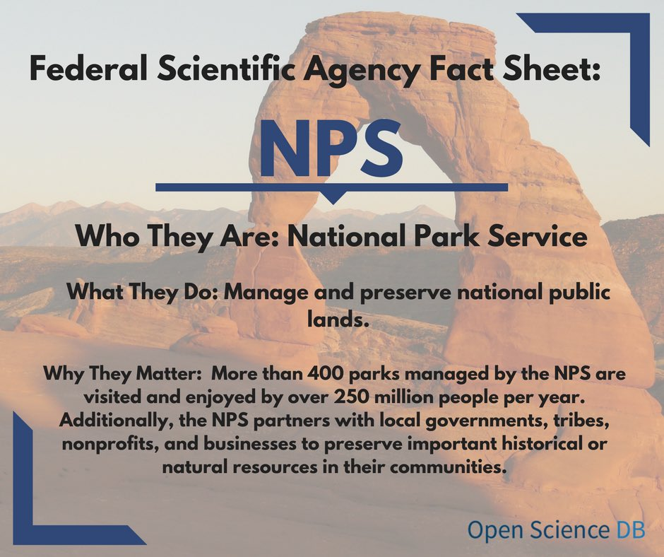 Next up is the @NatlParkService. Charged with protecting and preserving public lands for those who visit or call them home. #FundUSAscience <br>http://pic.twitter.com/qecot8nMV6