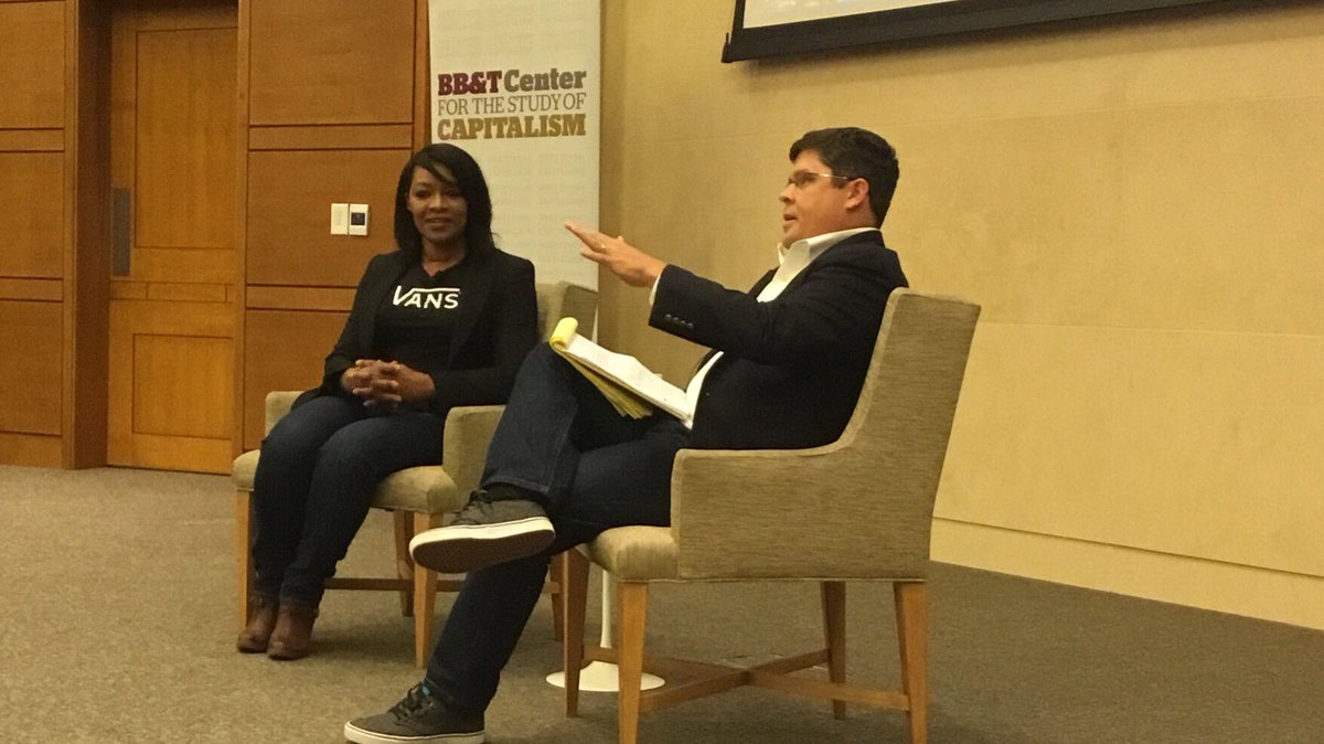 MT @bbtcenter: Prof Bryan Starrett @BrooksPierceLaw and Kellye Gordon @VFCorp chat ethics/compliance. @WakeForestBiz