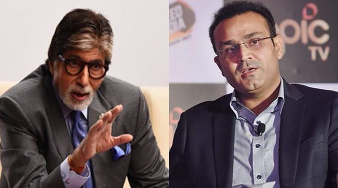 Virender Sehwag wishes the greatest superstar of our country Amitabh Bachchan a