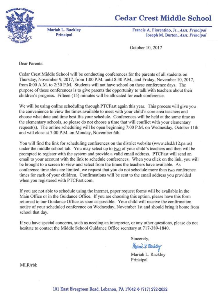 parent teacher conference sign up letter