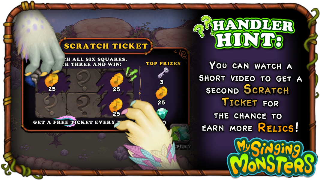 my singing monsters scratch ticket