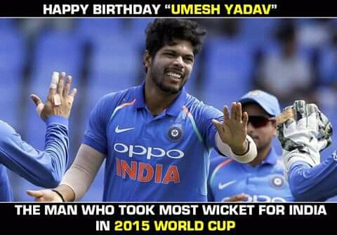 Happy birthday Umesh Yadav God bless you and all the best for the years ahead.