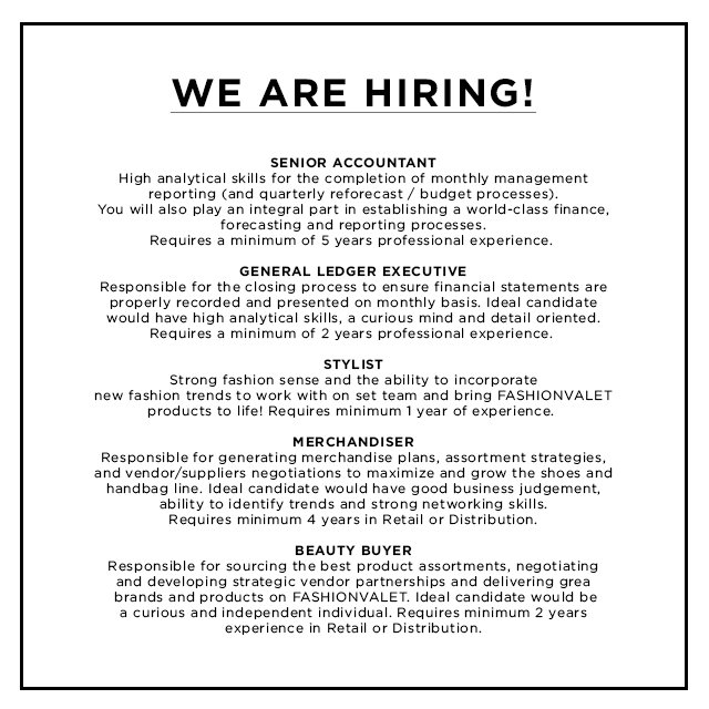 Are You Interested To Work In Fashionvalet We Hiring E Join Us Fvcareers Jobopeningpic Twitter Ubvzpujjle