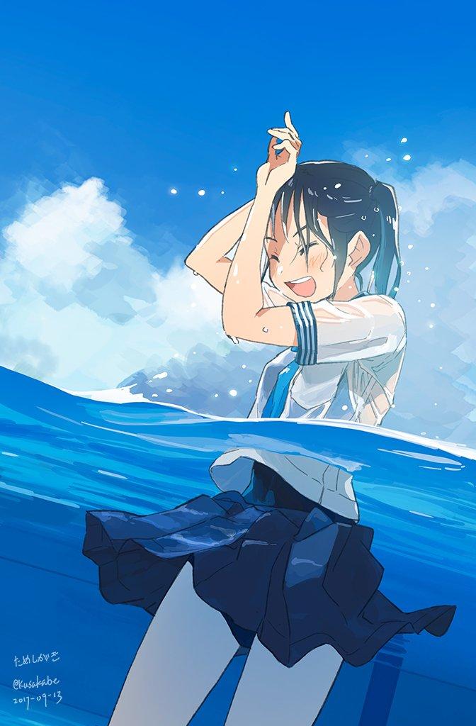 #10月なのでフォロワーさんに自己紹介しようぜ 濡れ透けセーラー服(スク水着用)JKを描きたい人