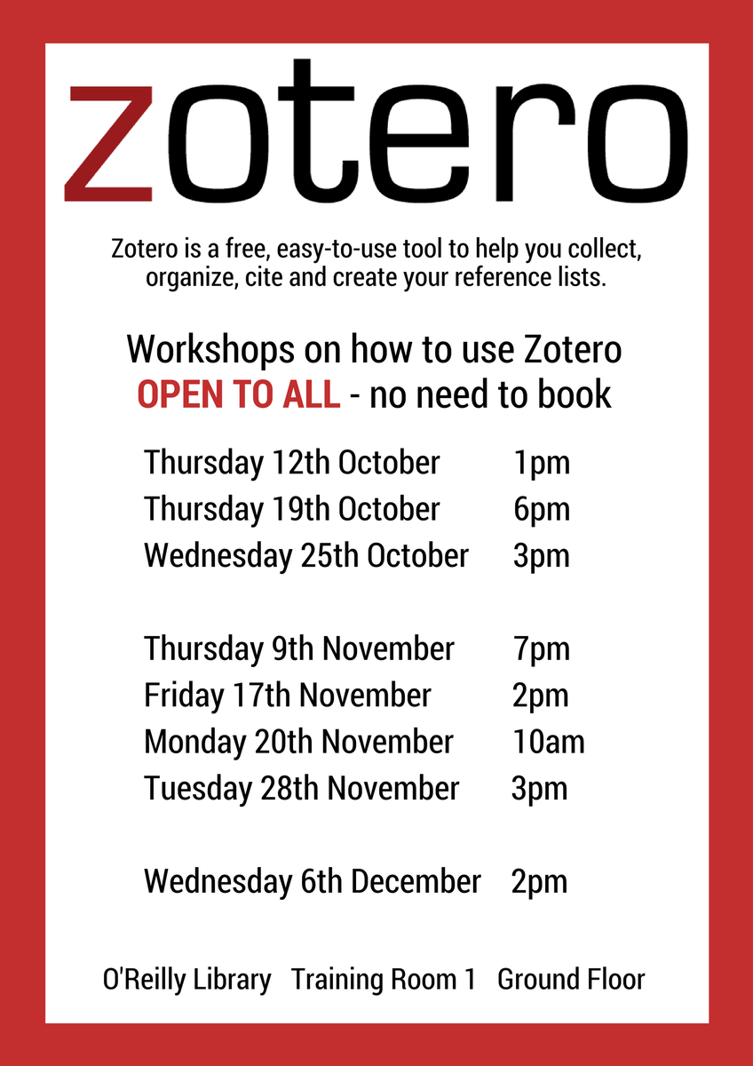 Dcu library on twitter learn how to organise cite reference dcu library on twitter learn how to organise cite reference sources with zotero workshop today 3 pm in oreillylibrary training room 1 ccuart Images