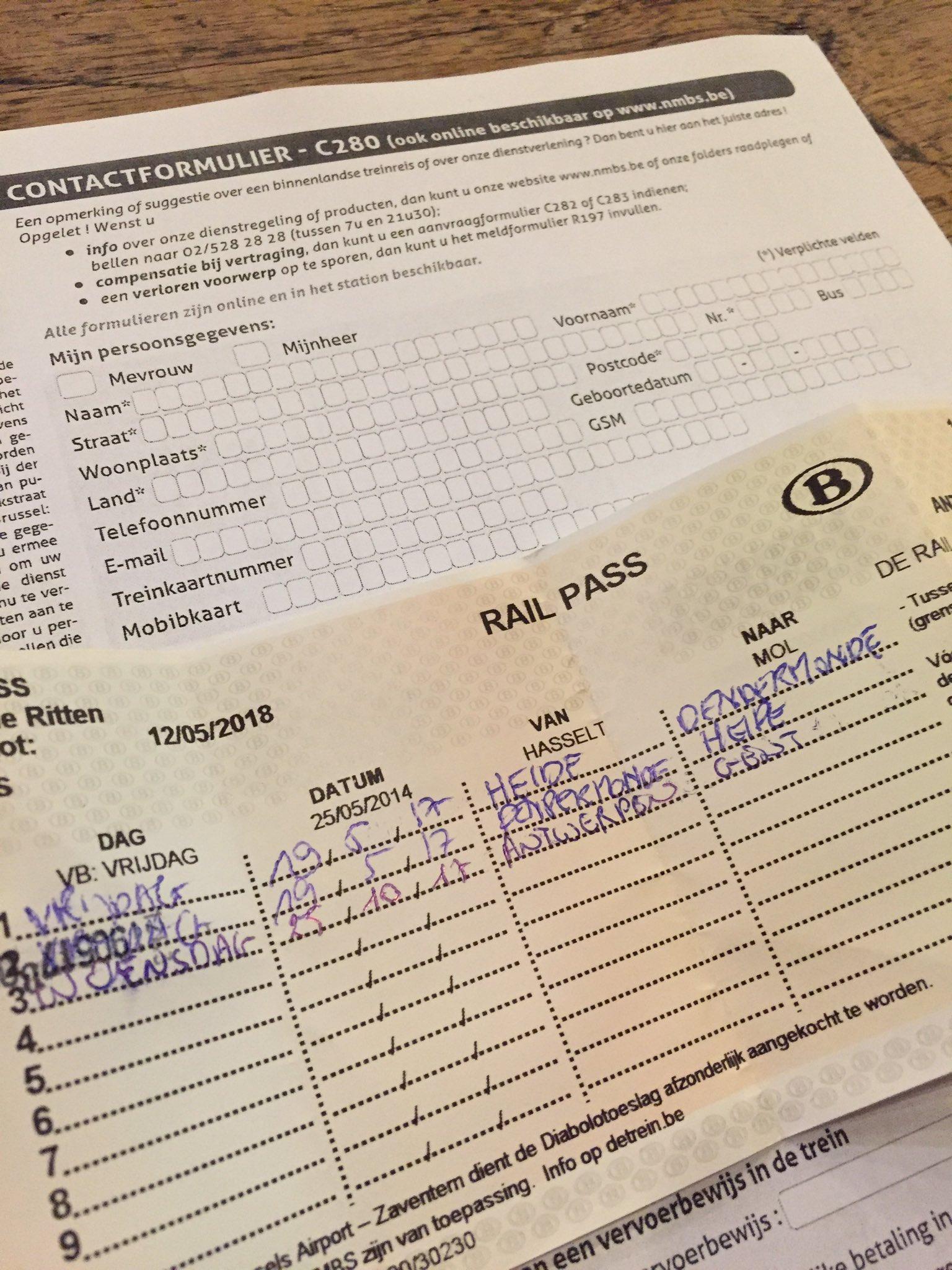Railpass ingevuld maar trein rijdt niet. Ipv 7 euro terug te geven en lijn te doorstrepen moet ik de C280 invullen?? https://t.co/4PhpXcgmiD