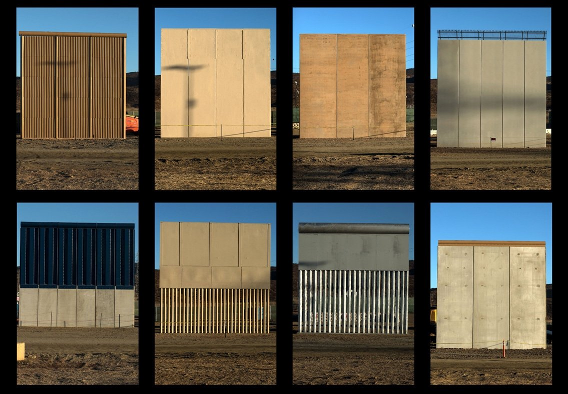 the last prototypes built for #Trump &#39;s US-#Mexico border wall (between 18 &amp; 30 feet), at a cost of up to $500,000 each...  @OccupyWallStNYC<br>http://pic.twitter.com/esRM3brkTS