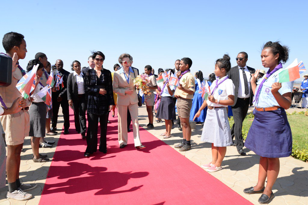 HRH Princess Anne of #England, and her husband, Vice Admiral Sir Timothy Lawrence, arrived in #Madagascar,  for an official visit. <br>http://pic.twitter.com/IjYCXuFliu