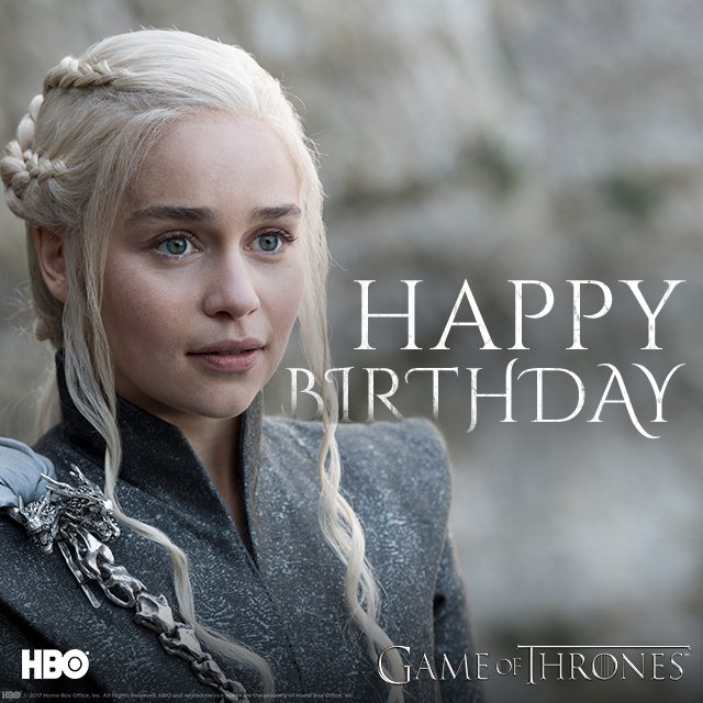 Happy name day to the ????, Emilia Clarke. #GameofThrones https://t.co/QKokKFcwps