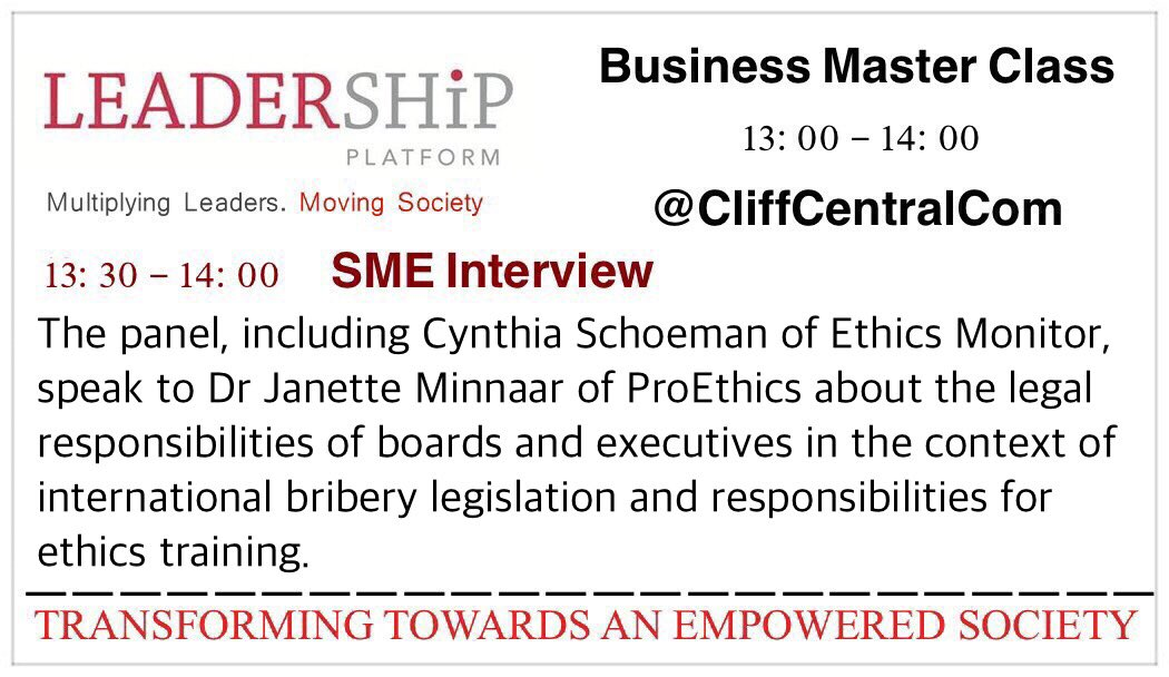 #SME Interview - with @proethicssa  Today 1pm @CliffCentralCom - Tune in and #keepethicsalive<br>http://pic.twitter.com/v3MxTOt0aW