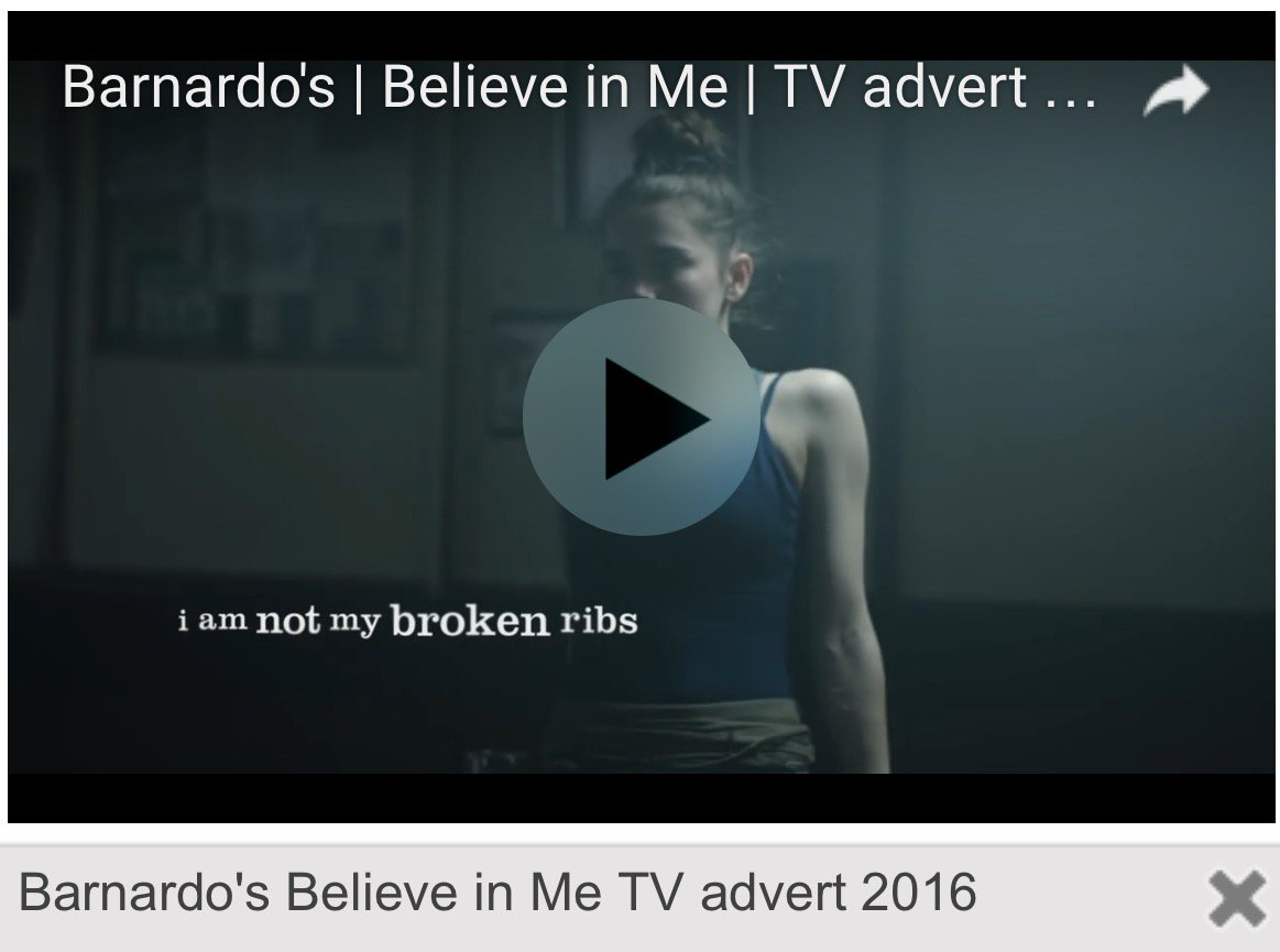 A @barnardos #BelieveInMe screen shot. Watch the video here & help...