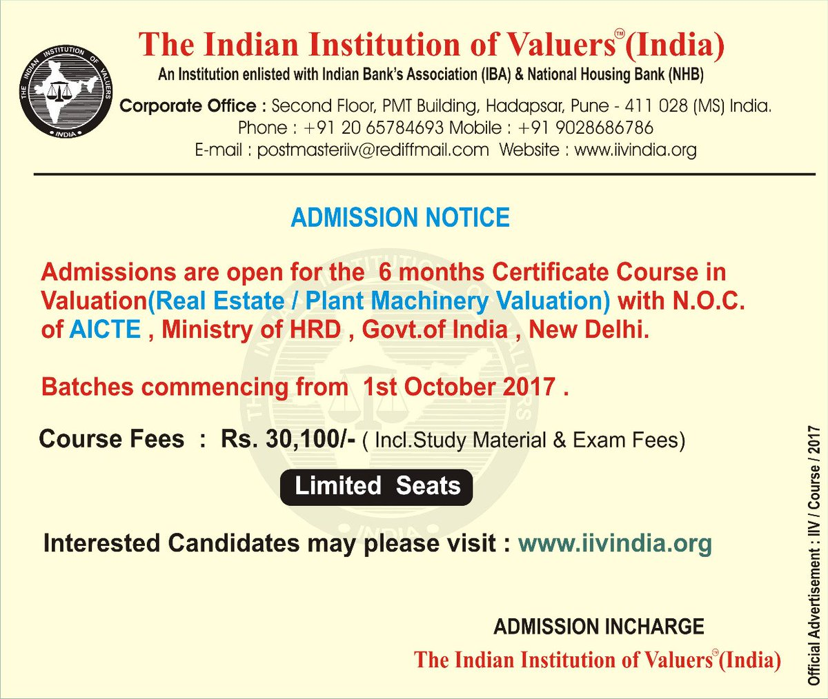 The Indian Institution Of Valuers (@iivrvo) | Twitter