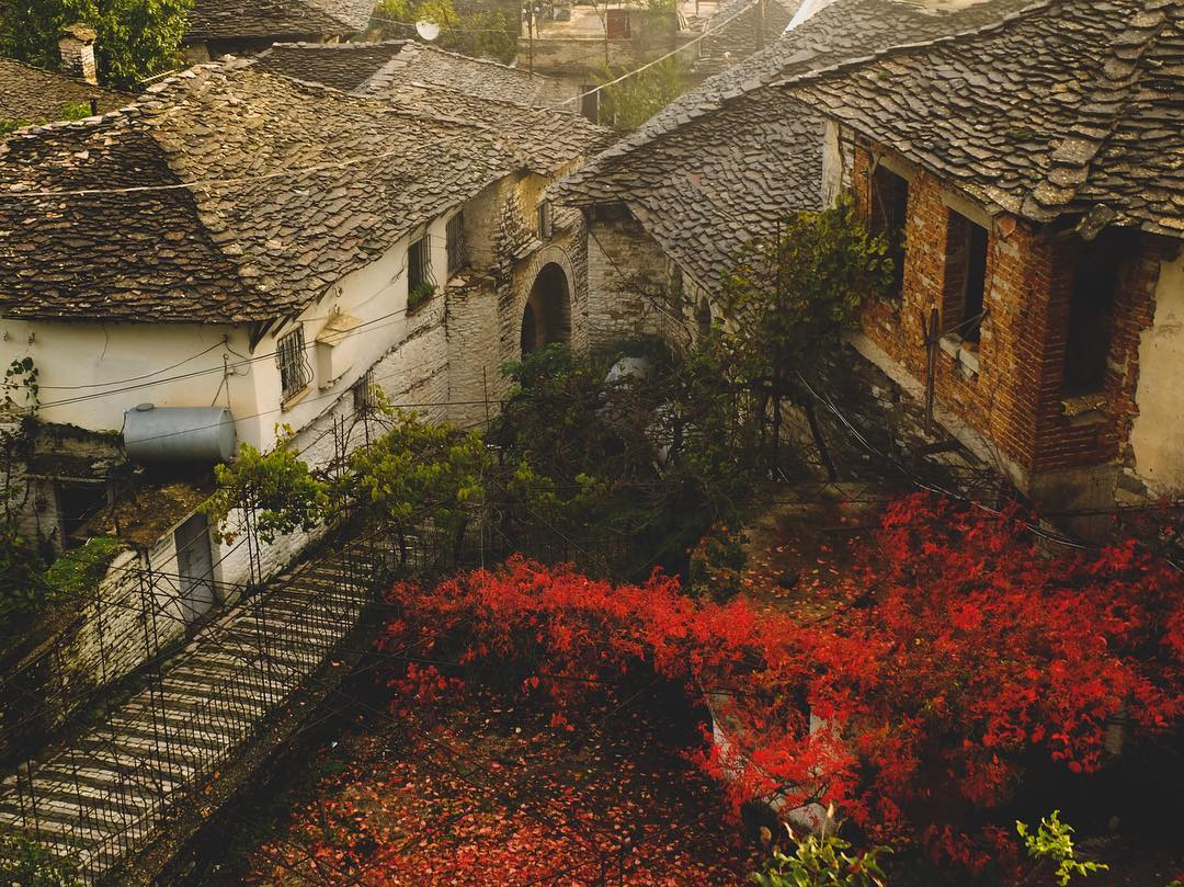Red Leaves and Stone Roof #Gjirokaster #Albania #unesco tabigra /IG <br>http://pic.twitter.com/uypEkvzXsx