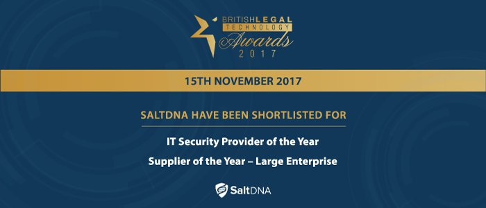 SaltDNA Shortlisted for TWO #British #Legal #Technology Awards  https:// buff.ly/2yHDqEY  &nbsp;   #legaltech #cybersecurity #cybercrime #law #London<br>http://pic.twitter.com/1Jx2VoUQvW