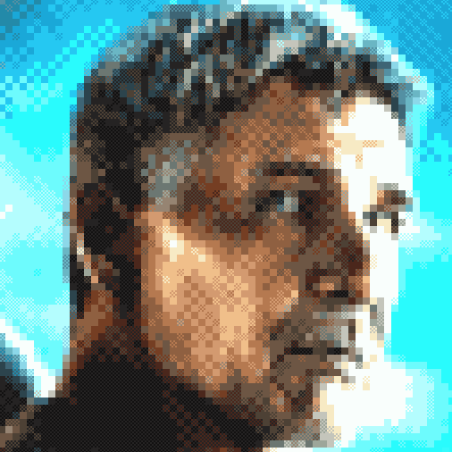 Harrison Ford in Blade Runner 2049. Still i have to do more tweaks to get better results on background gradients. #BladeRunner #pixelart<br>http://pic.twitter.com/NEq62zS2Qy