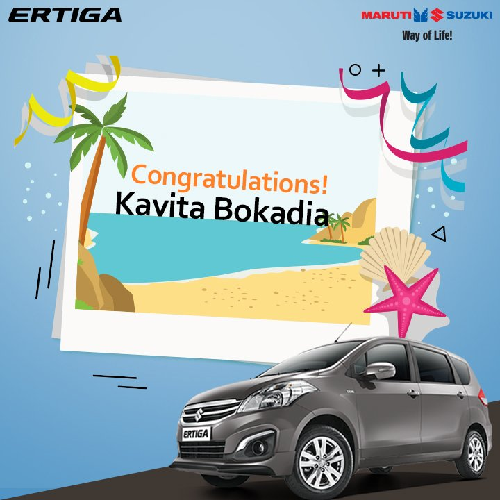Congratulations to the winner of the Maruti Suzuki #ErtigaHolidayDiaries contest. Kindly DM us your details. https://t.co/Sxg4RWrVKY