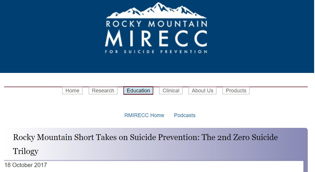 More great podcasts as @RMIRECC focuses on #ZeroSuicide. @samhsagov Chief of #SuicidePrevention branch: Agency&#39;s approach to Zero Suicide <br>http://pic.twitter.com/JxQ8T9Q0eG