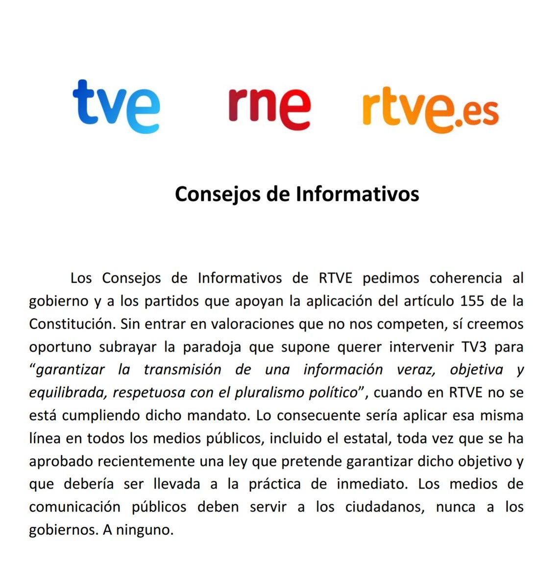 TV3 y el artículo 155. Comunicado conjun...