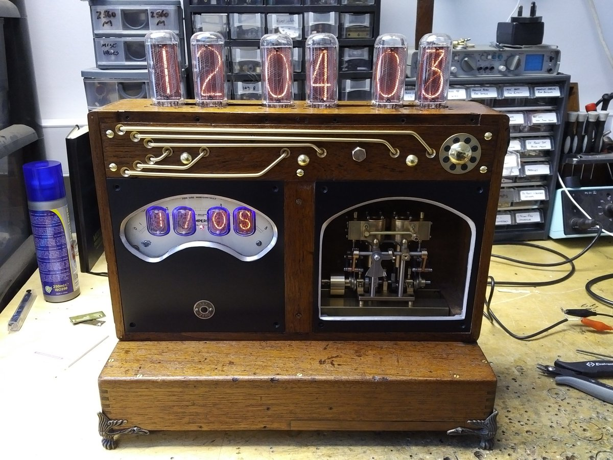 More #Workinprogress a #Steampunk Nixie clock with a little 2 cylinder #Steamengine inside. Made from an #upcycled voltmeter #Art #Geek <br>http://pic.twitter.com/5NrY8HtCQs